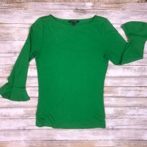 LAUREN RALPH LAUREN Bell Sleeve Top Green Sz M
